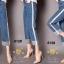 เสื้อผ้าสเกาหลีพร้อมส่ง กางเกงยีนส์ทรงกระบอก ผ้ายีนส์ฮ่องกง thumbnail 10