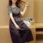 เสื้อผ้าเกาหลี พร้อมส่งเซ็ตเสื้อแขนสั้นลายทางพร้อมเอี๋ยมสายเดี่ยวติดกระดุมสีดำสไตล์ thumbnail 3