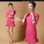 ชุดเดรสเกาหลี พร้อมส่ง เดรส สีชมพูหวาน ทรงเข้ารูปสวยหรู ชายเดรสทรงระบาย thumbnail 3