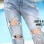 เสื้อผ้าแฟชั่นพร้อมส่ง กางเกงยีนส์ทรงบอยขาเล็ก แนวเซอร์ๆนิดๆ thumbnail 3
