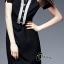 ชุดเดรสเกาหลี พร้อมส่งCC Stylish Cream & Black Dress thumbnail 4
