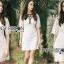 ชุดเดรสเกาหลี พร้อมส่งเดรสผ้าลูกไม้สีขาวตกแต่งริบบิ้นสีดำ thumbnail 3