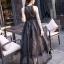 ชุดเดรสเกาหลี พร้อมส่ง Long Dress ช่วงบนทำด้วยผ้าตาข่ายลายลูกไม้ thumbnail 3
