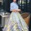 เสื้อผ้าเกาหลี พร้อมส่งAzura Skyblue Shirt + Embroidered Luxury Skirt thumbnail 17