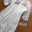 ชุดเดรสเกาหลี พร้อมส่งเดรสผ้าลูกไม้สีขาวปักลายผีเสื้อ thumbnail 13