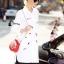 เสื้อผ้าเกาหลี พร้อมส่งเชิ๊ตยาวสีขาว งานปักโทนดำ/แดง รูปเล็กๆอย่างปราณีต thumbnail 5