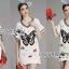 ชุดเดรสเกาหลี พร้อมส่งเดรสผ้าเดนิมฟอกสีขาวปักลายผีเสื้อตรงกลาง thumbnail 11