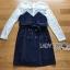 ชุดเดรสเกาหลี พร้อมส่งเดรสผ้าลูกไม้ทับด้วยเกาะอกทรงเทรนช์โค้ท thumbnail 6
