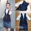 เสื้อผ้าเกาหลี พร้อมส่งเซ็ตเสื้อลูกไม้สีชาวทับด้วยเดรสเดนิมพิมพ์ลาดอกไม้ thumbnail 12