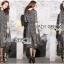ชุดเดรสเกาหลี พร้อมส่งเดรสยาวผ้าชีฟองพิมพ์ลายตารางสีขาว-ดำ thumbnail 4