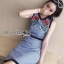 ชุดเดรสเกาหลี พร้อมส่งเดรสแขนกุดผ้าคอตตอนลายสก็อตปักลายดอกกุหลาบ thumbnail 8