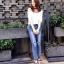 เสื้อผ้าเกาหลีพร้อมส่ง กางเกงยีนส์เอวสูงทรงสกินนี่ สไตล์ Zara thumbnail 3