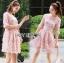 ชุดเดรสเกาหลี พร้อมส่งDress ค็อกเทลเดรสผ้าชีฟองสีชมพูปักดอกไม้ thumbnail 7