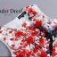 ชุดเดรสเกาหลี พร้อมส่งเดรสลายใหม่พิมพ์ลาย ดอกซากุระสีแดงลงบนพืนผ้า thumbnail 6