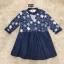 ชุดเดรสเกาหลีพร้อมส่ง Mira Lace Denim Cuite Dress thumbnail 7