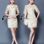 ชุดเดรสเกาหลี พร้อมส่งMini dress แขนสามส่วน ด้านนอกเป็นผ้าซีทรูปักลายดอกไม้ thumbnail 8