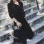 เสื้อผ้าเกาหลี พร้อมส่งParisian Luxury Winter Black Wooly Top + Skirt Set thumbnail 1