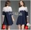 ชุดเดรสเกาหลี พร้อมส่งเดรสผ้าคอตตอนสีน้ำเงินเข้มตกแต่งผ้าลูกไม้สีขาว thumbnail 4