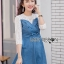 ชุดเดรสเกาหลี พร้อมส่งมินิเดรสเกาะอกผ้าเดนิมทับเสื้อลูกไม้สีขาว thumbnail 10