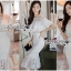 ชุดเดรสเกาหลีพร้อมส่ง เดรสชีฟองสีขาวทรงระบายเลเยอร์กระโปรงผ้าลูกไม้ thumbnail 6