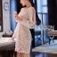 ชุดเดรสเกาหลี พร้อมส่งเดรสผ้าลูกไม้สีขาวซับในสีนู้ดตกแต่งแขนชิฟฟอน thumbnail 5