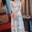 ชุดเดรสเกาหลี พร้อมส่งเดรสยาวผ้าทูลเลปักผีเสื้อสีฟ้า3D สไตล์เจ้าหญิง thumbnail 8