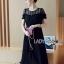 Diana Vintage Feminine Black Lace Pleated Dress thumbnail 3