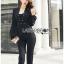 เสื้อผ้าเกาหลี พร้อมส่งจัมป์สูทขายาวสีดำปักหมุดสุทหรู thumbnail 3