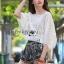 เสื้อผ้าเกาหลี พร้อมส่งเสื้อผ้าคอตตอนทอลายตกแต่งลูกไม้สีขาวสไตล์วินเทจ thumbnail 1