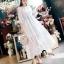 ชุดเดรสเกาหลี พร้อมส่งSummer Cross Back Luxury White Beach Dress thumbnail 1