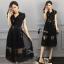 ชุดเดรสเกาหลี พร้อมส่งCrisity High Light Black Dress thumbnail 3