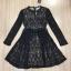 ชุดเดรสเกาหลี พร้อมส่งMini dress ลูกไม้แขนยาวสีดำ thumbnail 5