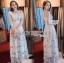 ชุดเดรสเกาหลี พร้อมส่งเดรสยาวผ้าทูลเลปักผีเสื้อสีฟ้า3D สไตล์เจ้าหญิง thumbnail 4