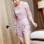 เสื้อผ้าเกาหลี พร้อมส่งShiny Lady PinkGold Leaf Lace Playsuit thumbnail 5