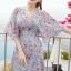 ชุดเดรสเกาหลีพร้อมส่ง เดรสลายดอก ผ้าเป็นผ้าชีฟอง ทรงเสื้อคลุม thumbnail 6
