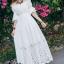 ชุดเดรสเกาหลี พร้อมส่งlong dress สีขาว ผ้า cotton ทรงยางยืดปาดไหล่ thumbnail 3