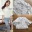 เสื้อผ้าเกาหลี พร้อมส่งเสื้อผ้าคอตตอนทับด้วยผ้าตาข่ายปักดอกไม้สีขาว thumbnail 4