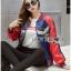 เสื้อผ้าเกาหลี พร้อมส่งบอมเบอร์แจ๊คเก็ตผ้าซาตินปักลายสีสดใส thumbnail 2