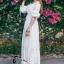 ชุดเดรสเกาหลี พร้อมส่งlong dress สีขาว ผ้า cotton ทรงยางยืดปาดไหล่ thumbnail 5