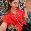เสื้อผ้าเกาหลี พร้อมส่ง เซ็ตเสื้อ+กระโปรง ตัวเสื้อสีแดงสด กระโปรงผ้าแก้วสีดำ thumbnail 3