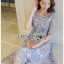 ชุดเดรสเกาหลีพร้อมส่ง ค็อกเทลเดรสผ้าทูลเลปักลายลูกไม้ thumbnail 2
