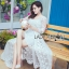 Vanessa Flower Embroidered White Tulle and Lace Dress thumbnail 6