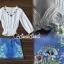 เสื้อผ้าเกาหลี พร้อมส่งChic Sticky Blue Flora Set thumbnail 9