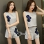 เสื้อผ้าเกาหลี พร้อมส่ง เซ็ตเสื้อแขนสั้น+กางเกงสีเทา thumbnail 8