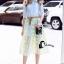 เสื้อผ้าเกาหลี พร้อมส่งAzura Skyblue Shirt + Embroidered Luxury Skirt thumbnail 5