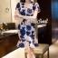เสื้อผ้าเกาหลี พร้อมส่งPinkyPeach Dress Navy Flora thumbnail 5