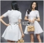 ชุดเดรสเกาหลี พร้อมส่งเดรสผ้าโพลีเอสเตอร์ตัดต่อลูกไม้สีขาวสไตล์เฟมินีน thumbnail 4