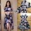 ชุดเดรสเกาหลี พร้อมส่งเดรสผ้าทูลเลปักดอกไม้โทนสีครีมน้ำเงิน thumbnail 11