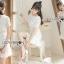 ชดเดรสเกาหลี พร้อมส่งเดรสสีขาวปักลายดอกไม้กระโปรงระบาย thumbnail 6
