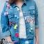 เสื้อผ้าเกาหลี พร้อมส่ง3D Butterfly Denim Jacket thumbnail 9